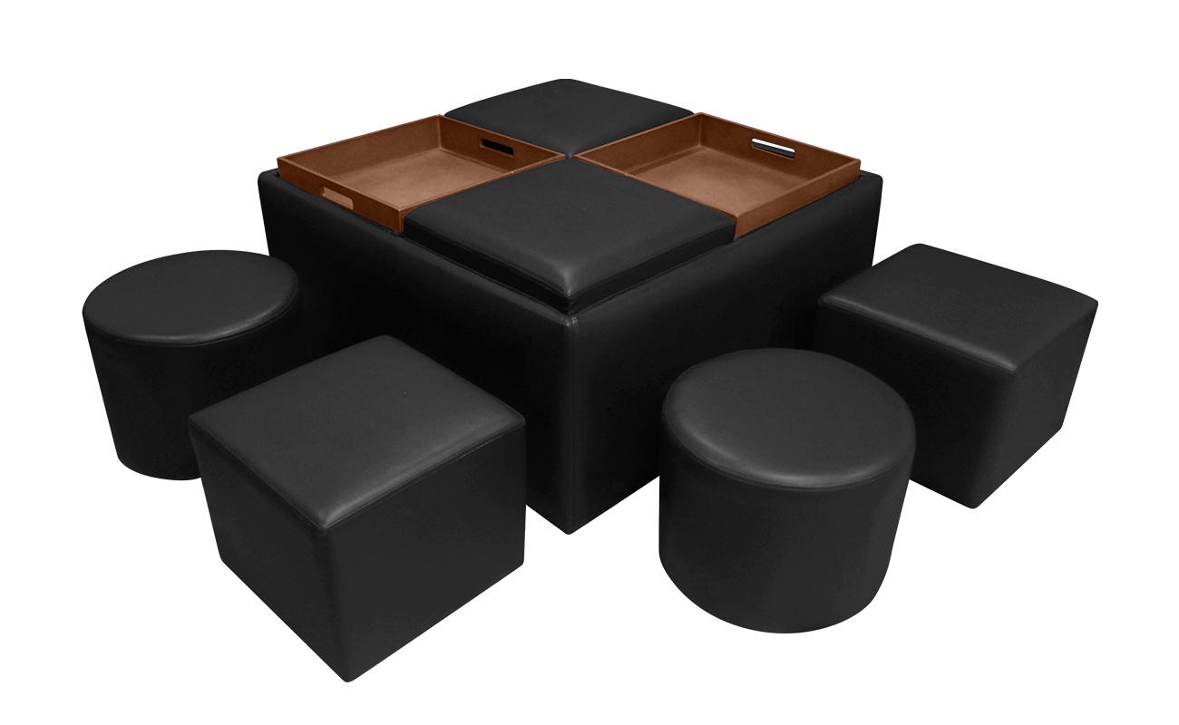 Mesa De Centro Moi Con Puff Amoblando # Muebles Puff Bucaramanga